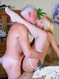 Stunning blonde beauty gets pounded by a horny senior stud pictures