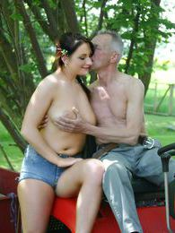 Busty teen brunette gets banged by a horny old gardener pictures