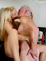 Blonde beauty adores an old male and pleases his stiff cock pictures at kilomatures.com