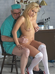Horny old doctor shagging a willing naked patient hardcore pictures