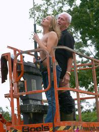 Dirty old senior bangs a teenage hottie in his boom lift pictures at lingerie-mania.com