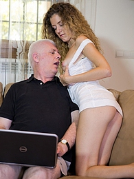 Great curvy brunette blows old dude's cock and loves it pictures at adspics.com