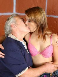 Grey old male loves to hump a stunning brunette babe wild pictures at adspics.com
