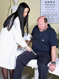 Sexy young doctor examines an old seniors sexual abilities pictures at adspics.com