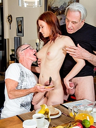 Minnie is so horny she fucks these old geezers real hard pictures