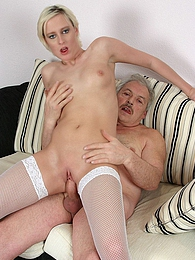 Naughty blonde girl taking care of old and horny senior pictures at kilogirls.com