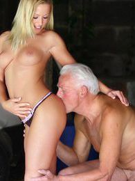 Perfect blonde hottie gets fucked by an older horny man pictures