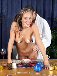 Stunning brunette babe gets creamed by a horny senior stud pictures