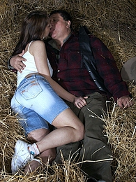 Cute chick fucking horny senior farmer in the hay indoors pictures