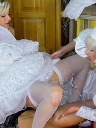 Hot crazy brides enjoy fucking and pissing on each other pictures