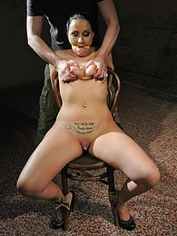 Awesome brunette slave Clair gets caged cuffed and gagged pictures at adipics.com