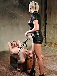 Mistress Victoria gives a forced wank and controlled orgasm pictures at kilogirls.com