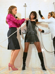 Adorable chained horny brunette pleasured by her friends pictures at kilogirls.com