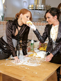 Horny clothed babes spraying white cream on their bodies pictures at kilogirls.com