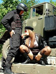 Daring horny cutie fucking the army guy outdoors hardcore pictures