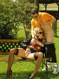 Cute blonde sweetheart giving a horny dude a hot footjob pictures at kilogirls.com