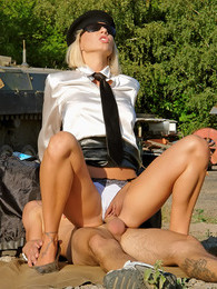Sexy blonde beauty fucked by a soldier outdoors hardcore pictures