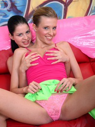 Two very horny teenage lesbian hotties going at it hard pictures at sgirls.net