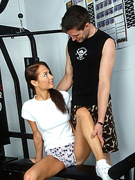 Fitnessing brunette screwed hard by her trainer hardcore pictures at adspics.com