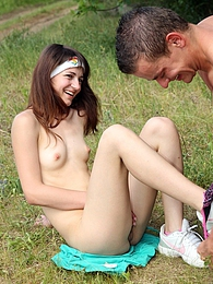 A fellow pounding her tight teenage snatch in the grass pictures at freekilopics.com