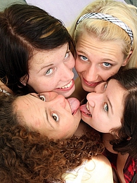 Four pretty teenage girls fondling bodies in a large tent pictures at freekiloclips.com