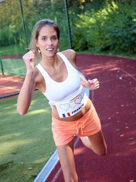 Fast running teenage hottie strokes muff in locker room pictures at dailyadult.info