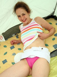 Horny camping teenager caresses her slippery wet cooter pictures