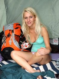 A horny teenage fondling blonde goes camping in the woods pics