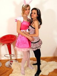 Two very hot teenage chicks scissoring with a large toy pictures at sgirls.net