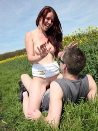 Pretty lucky teenage girl nailed in a big field outside pictures at adspics.com