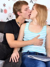 Very cute teenage couple loves fucking hardcore in a bed pictures at adipics.com