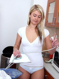 Ironing teen cutie loves masturbating on the dirty floor pictures at adspics.com