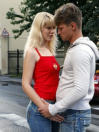 Cute blonde babe pleasuring his big boner with her cooch pictures at freekilomovies.com