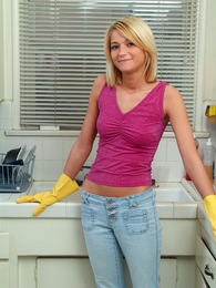 House cleaning lady petting pussy with a purple sex toy pictures at dailyadult.info