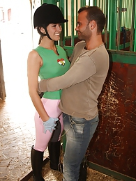 A daring teenage couple loves screwing in stables hardcore pics