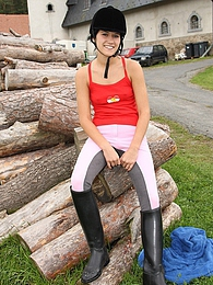 A cute horse riding teen fondling her soaked tight cooch pictures at freekiloclips.com