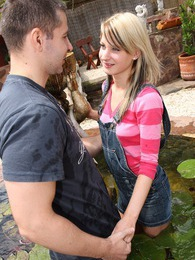 Very cute garden chick banged outside by stiff big cock pictures