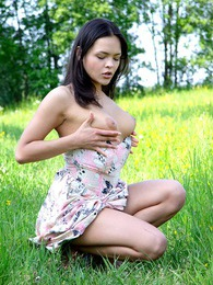 Hot teenage chick loves masturbating outside in the grass pics