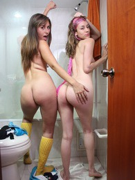 Two teenage lesbians undressing in the bathroom completely pictures at sgirls.net