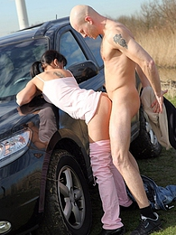 Horny chick screws a poor streetartist in the grassfield pictures at find-best-pussy.com