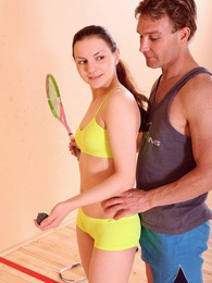 Cute sweetie fucked while playing some racketball indoors pictures at lingerie-mania.com