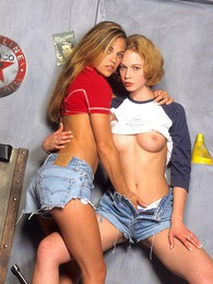 Two lesbian blondes enjoy getting dirty after a bike ride pictures at lingerie-mania.com