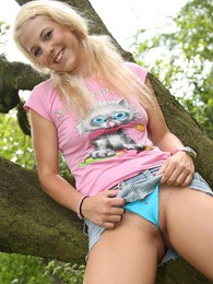 Blonde sweetie undressing outside in the bushes pictures pictures at find-best-pussy.com