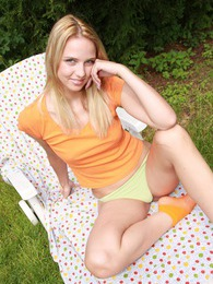 Horny teenage garden chair masturbation outdoors with dildo pictures at sgirls.net