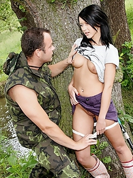 A hot teenage sweetie nailed by a horny soldier outdoors pictures