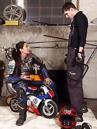 Shy teenage biker chick fucks the horny mechanic hardcore pics