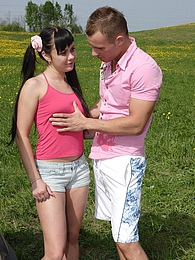 A horny dude banging a hot untainted teenage chick outside pictures at lingerie-mania.com