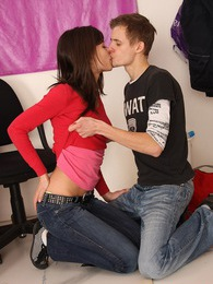 A very horny teenage couple loves fucking at the office pictures at freekiloporn.com