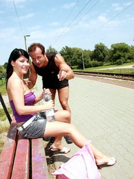 Cute teenie brunette gets a big facial on the train track pictures at adipics.com