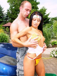 Teenager giving a superb car wash before getting fucked pictures at freekilosex.com